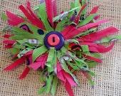 Tropical Flower Brooch Beach Wedding Boutenierre Corsage Shabby Hawaiian Summer Luau Party Original Bright Tattered Fabric Hair Clip