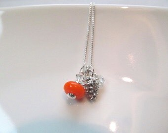 Pinecone Charm necklace silver tone with orange lampwork bead and crystals