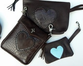 SALE  Brown and Blue Leather LOVE Heart Pouch Change Purse Small Size with clip Sale