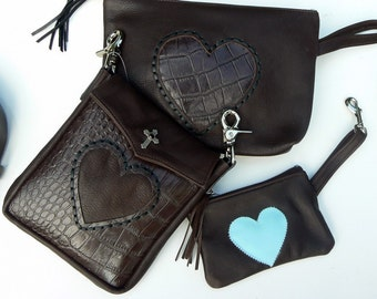 Brown and Blue Leather LOVE Heart Pouch, Change Purse, Small Size w/ Clip, Money Holder, Credit Card Purse, Carry Strap, Zippered, Belt Clip
