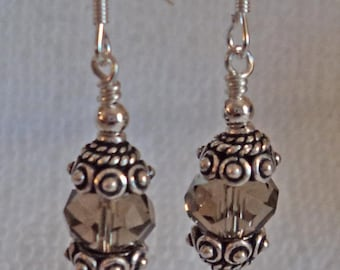 Crystal and sterling silver dangle earrings