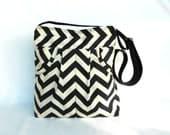 Black & Cream ZigZag Tote Bag Messenger Bag Shoulder Bag