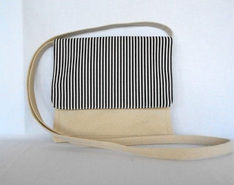 Black and White Stripe Small Shoulder or Crossover Bag