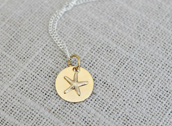 Petit Tresor... Tiny 14k GF Gold Filled Starfish necklace on a gold Disc Charm, star fish, dainty silver chain, mix metal, gift, teen, kids
