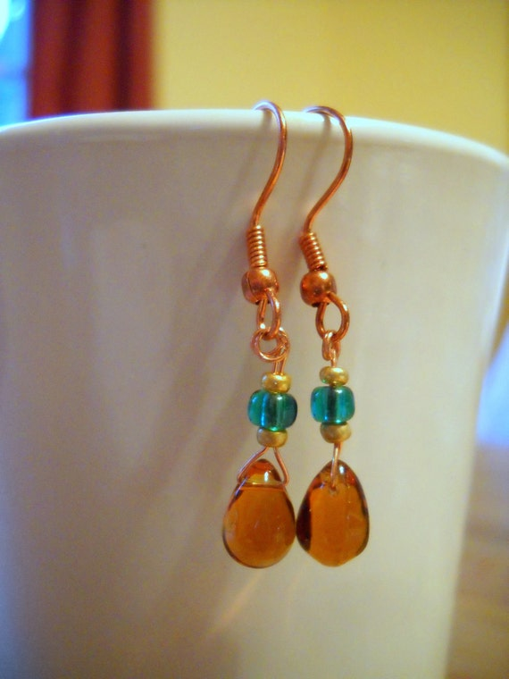 Clearance Amber Dangle Earrings in Copper
