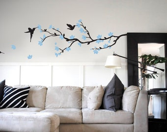 Branch with blossom vinyl wall sticker | 140 x 90cm / 55 x 35 inches