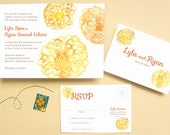 Watercolor Flowers Wedding Invitation Suite