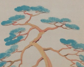 Vintage Japanese Art Scroll Painting, Crane by a Pine Tree by Tashiro Kogai, early 20th C. - 110207