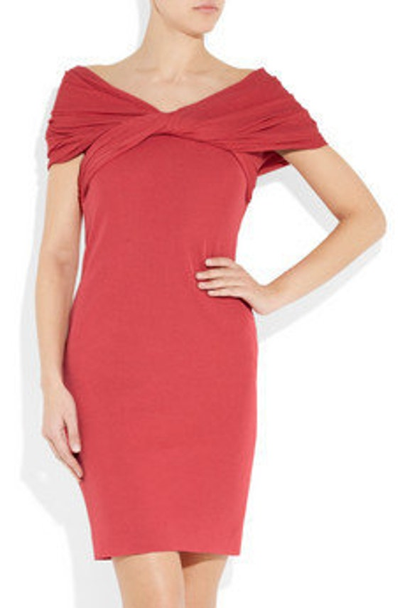 Coral twist front jersey dress. Formal dress. Off the shoulder cocktail dress. Custom dress. Womens dress