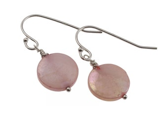 Romantic Pink Drop Earrings Solid Quality Sterling Silver, Freshwater Mother of Pearls, Wedding, Bridesmaid, Gifts for her, Present, UK