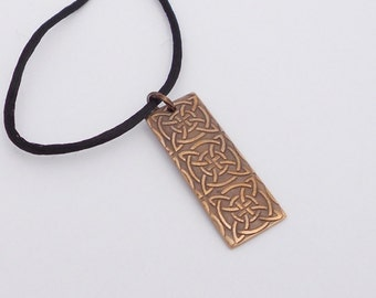 Bronze Metal Clay Pendant, Celtic Pattern, Recycled Metal, Personalized, Unisex