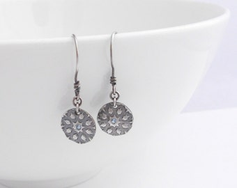 Silver Metal Clay Earrings with Gemstone, PMC, Disk Earrings, Blue Topaz