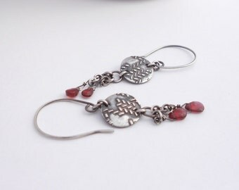Silver Earrings, PMC, Metal Clay, Fine Silver Disks, Garnet Briolettes