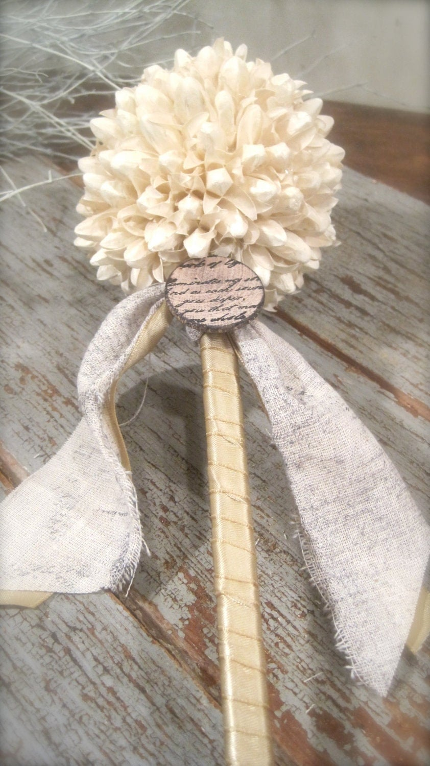 Cream Flower Girl Wand Bridesmaids Floral Wand By