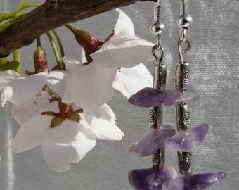 Amethyst and Tibetan Silver Dangle Earrings Free Worldwide Shipping