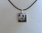 Panda Bear Scrabble Tile Pendant with Necklace - All Proceeds to Planet You Wildlife Conservation