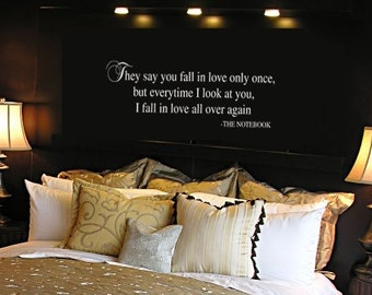 THE NOTEBOOK Quote VInyl Wall Lettering Decal