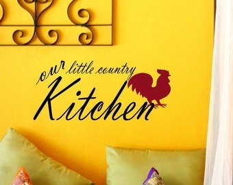 Our LIttle Country Kitchen Family Home Vinyl Wall Lettering Decal with Rooster