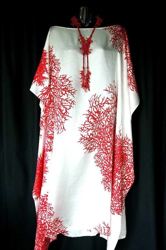 Red Coral Pure Silk Kaftan