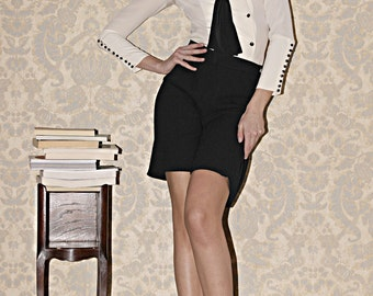 1920s inspired White Blouse with black Crepe de Chine Silk and black buttons, Made to order.