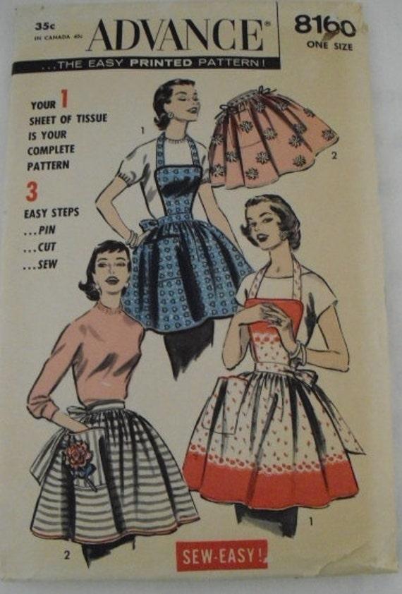 Vintage Advance Apron Pattern 8160 showing Misses Bib Top or Half Apron