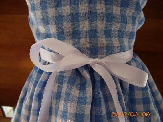 """Blue and White Checkered Gingham Print  Handmade Sleeveless Dress fitting American Girl & Similar 18"""" Dolls - Doll Clothes"""