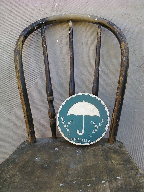 Umbrella Blue and White Reclaimed Wood Hand-Painted Children's Decor Wall Hanging Plaque