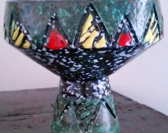 Vintage Italian pottery vase, mid century, hand carved, geometric pattern