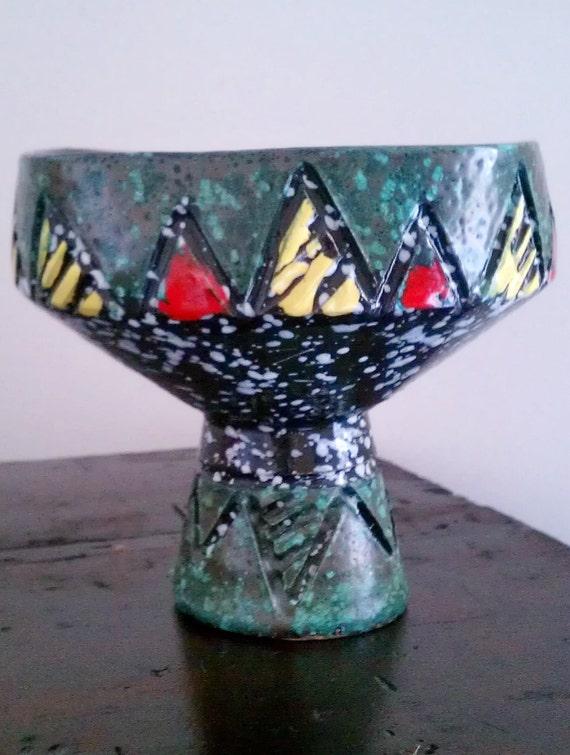 Vintage Italian Pottery Vase Mid Century Hand Carved