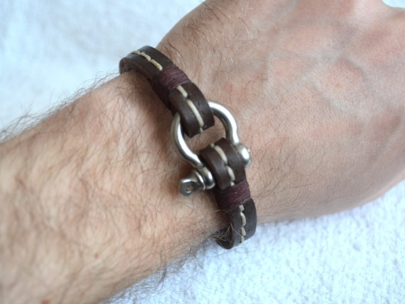 Men's Leather Bracelet with Steel Shackle Clasp - Mens Bracelet - Men's Jewelry Unisex  - Dark Brown2 - Hand Stitched