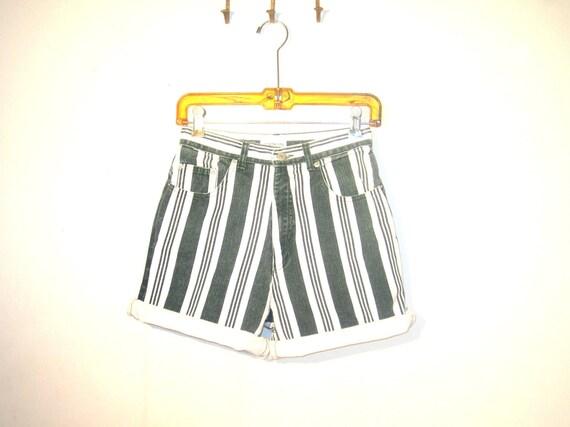 SALE /// 90s BOLD Stripe Denim High Waist Shorts