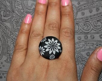 Black Flower Fabric Ring