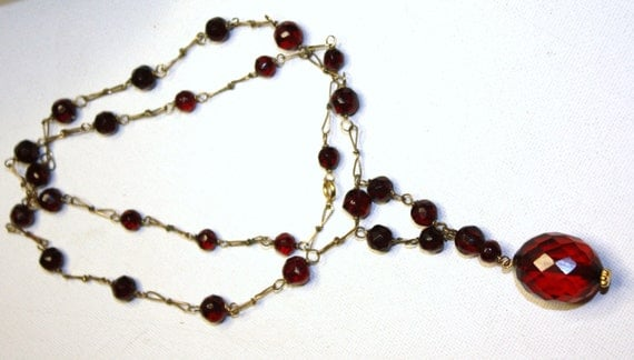 Art Deco Necklace Cherry Amber Glass  Faceted Bead 1920 Jewelry