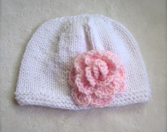 Baby Girl's Beanie in White with Pink Flower. Newborn Beanies for Baby. White Beanie for girls.