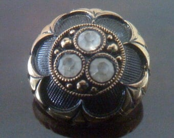 Sale Rare Vintage  Le Chic Glass Rhinestone Buttons-Gold Luster,Black, Faceted Crystal -1940s made in West Germany