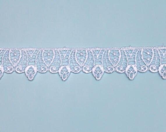 4 1/8 Yards, Vintage, Venice Style Lace Trim, White Satin Tone with Scalloped Edge Design. Item 0279