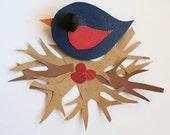 Leather Bird Brooch - Bird Brooch - Little Swift Bird Brooch - Cute Bird Brooch - Handmade Bird Brooch - Navy and Pink Bird