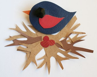 Leather Bird Brooch - Bird Brooch - Little Swift Bird Brooch - Cute Bird Brooch - Handmade Bird Brooch - Navy and Pink Bird