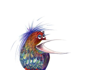 Little Bird with Big Mouth - Original Color Pencil Drawing - 8 x 6 inch - Print