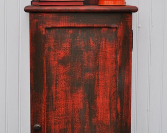 Rustic Wall Cabinet Door Shelves Frame and Panel Aged Weathered Red Orange Brown Ready to Ship