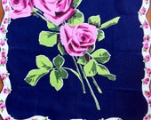 Navy Blue Hanky - Fuchsia Pink Roses -  Large Scalloped