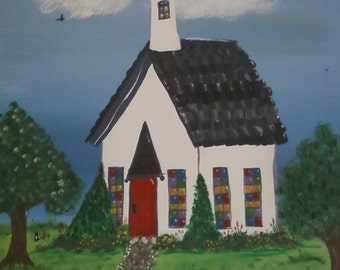 The Little White Church Original Acrylic Painting On Canvas