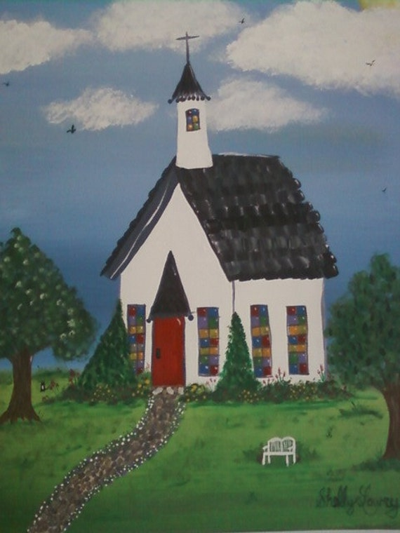 The Little White Church Original Acrylic Painting By