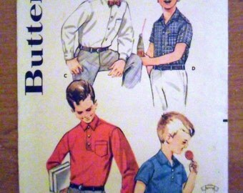 Boys Children's Shirt and Rugby Polo Sport Shirt Vintage 1950's Sewing Pattern Butterick 2164 Size 4