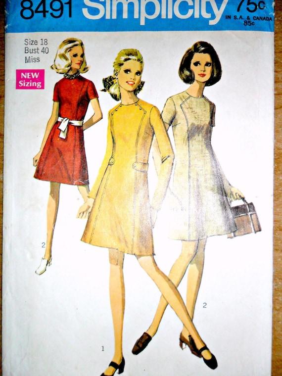 Misses Mod Mini Dress Vintage Sewing Pattern Simplicity 8491 Plus Size Size 18 Bust 40