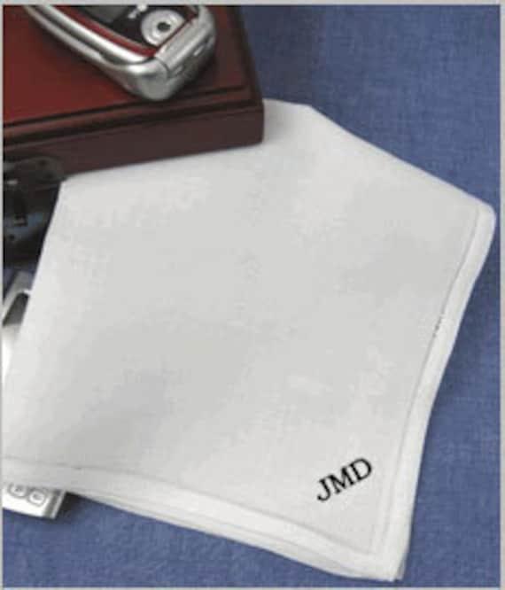 Mens Monogrammed Handkerchiefs Pure Linen Set Of 2 By
