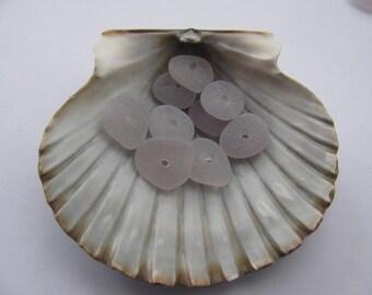 ECO Friendly Drilled Sea Glass Amethyst Beach Glass - GENUINE