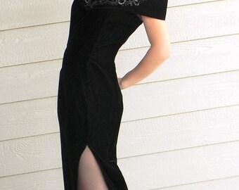 Vintage maxi dress. Prom dress.Black velvet dress.  Sequin Dress. Off the shoulder. 60s wiggle dress. Mad Men fashion. Evening dress