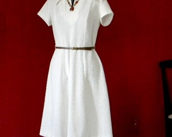 1960s Dress Set. Vintage Off White Medium Dress. Mad Men Fashion. Open front jacket. Short Sleeve Dress.