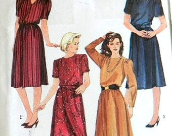 80s Sewing Pattern. Misses dress with neckline and sleeve variations. Sizes 6, 8, 10. Simplicity 6619 Ready to ship from Colorado USA
